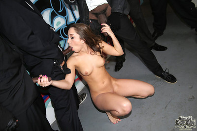 Remy lacroix does fellatio on many black schlongs