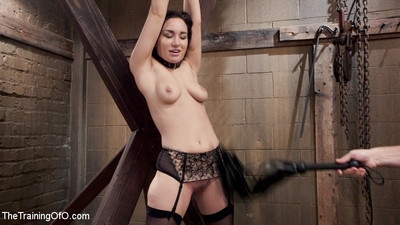 Slave in drill gabriella paltrova sleeps in a cage in the basement at night.