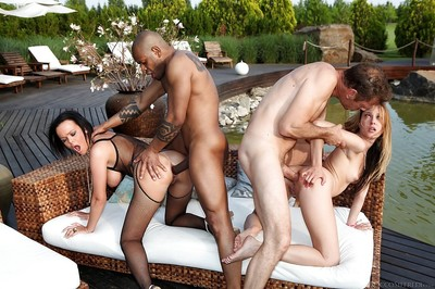 Steaming hot anal sluts have a groupsex with double wellhung guys