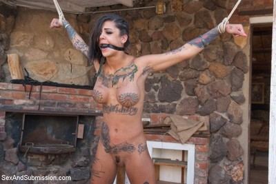 Tattooed doll gets tied and ass penetrated