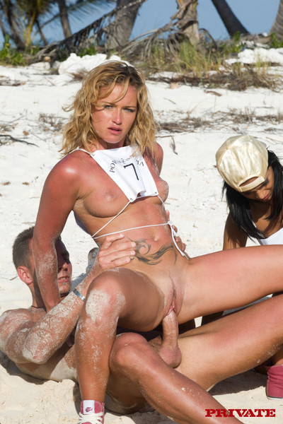 Four sexy sluts laying the dirtiest anal games on beach