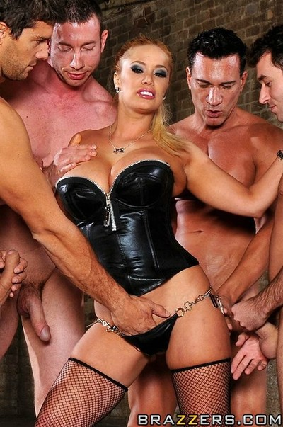 Giant boobed blonde shyla stylez in leather boots and corset attains gang group-bonked