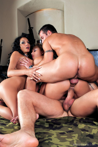 Quartet orgy act by stunning fairy-haired and a dark hair queens