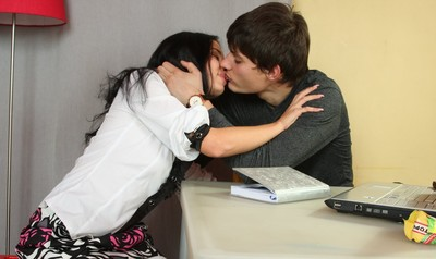 Shy brunette schoolgirl seduced and fucked by a tall stud