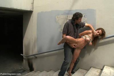 Darling gets stripped, fixed firmly up and fucked outdoor in public places