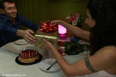 Birthday surprise with dp in bondage blowbang and greater extent