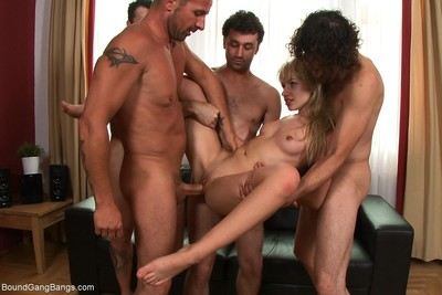 Hot little blond sasha rose purchases united up, blindfolded and surprised by multiple
