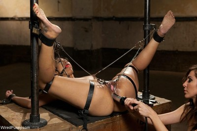 Beautiful asian girl gets tied up and dominated with electricity