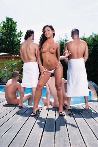 Jade the asian courtesan takes on four rock raw throbbing ramrods