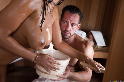 Wet Latin hottie MILF Isis Love taking backdoor sex in sauna while fairy-haired adolescent watches