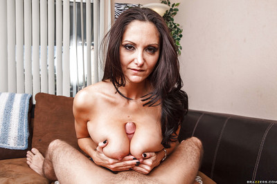 Boobsy MILF Ava Addams gives a titjob and gets her love holes cocked up