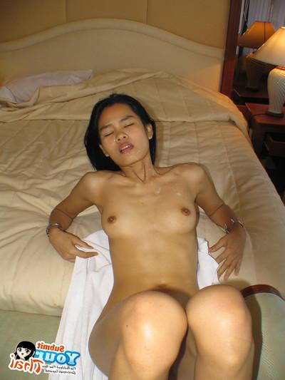 Undersize thai girlfriend obtains a chest entire of jizz