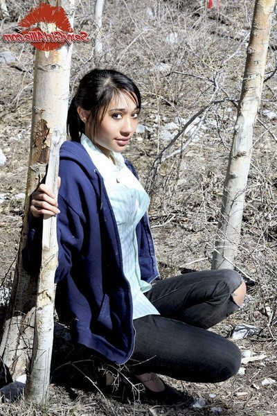 Wiry oriental infant babe outdoors