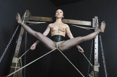 Japanese obedience and suspension of tattooed japanese submissive beauty mei mara