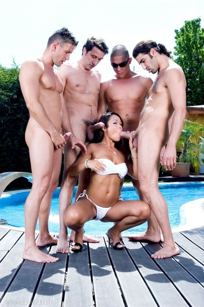 Sweaty oriental jade sin purchases gang gangbanged in the pool