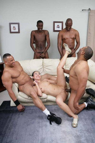 Dirty oriental prostitute purchases dp at interracial gang team sex
