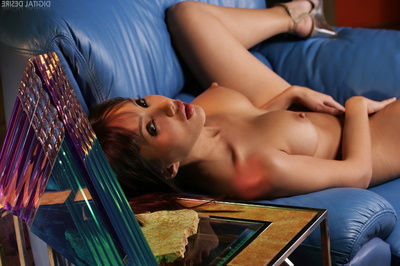 Clammy Japanese Brunette hair Seduces And Rubs Bawdy cleft On The Ottoman And Flaunts Giant Pointer sisters