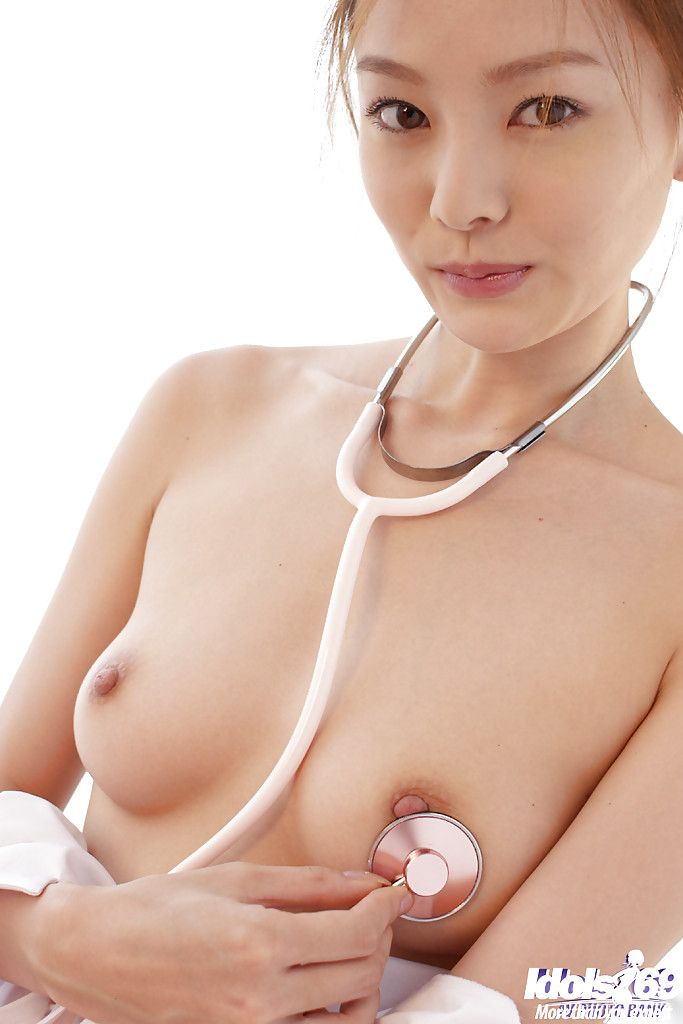 Adorable Japanese nurse in  Ray Ito striptease and gratifying shower