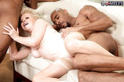 Slutty granny Semiprecious stone is come by interracial groupsex helter-skelter several glowering guys