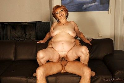 Big granny gives a blowjob added to gets their way jelled cunt drilled hardcore