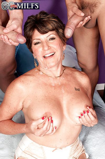 Super grandmother Bea Cummins screwing 2 guys concerning fat dicks near MMF troika