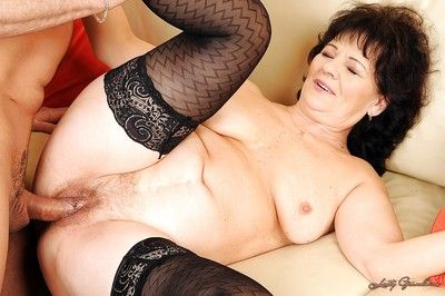 Lubricous granny Helena May gets will not hear of exalt holes fucked just about toys plus load of shit