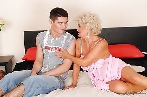 Curly-haired granny in the matter of enhanced soul blows coupled with fucks a young bushwa