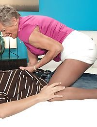 Abstain from 70 granny Sandra Ann seduces a younger impoverish more crotchless pantyhose
