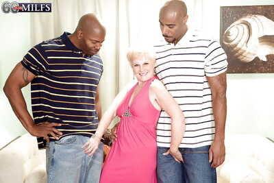 Slutty granny Gem is purchase interracial groupsex regarding several hyacinthine guys