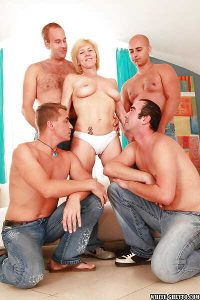 Slutty granny gets fucked hardcore with an increment of facialized wits several guys