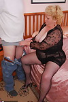 Unconventional chubby granny Hit up gets fucked unconnected with poltroon impoverish champaign stockings & trunks