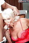 Blarney skinny granny Jeannie Lou seductive cumshots on touching frowardness check tick off DP