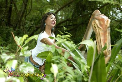 Thai adolescent gal at park
