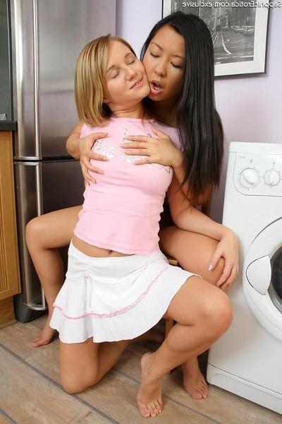 Stupendous juvenile blond and brunette hair nubiles having girl-on-girl banging
