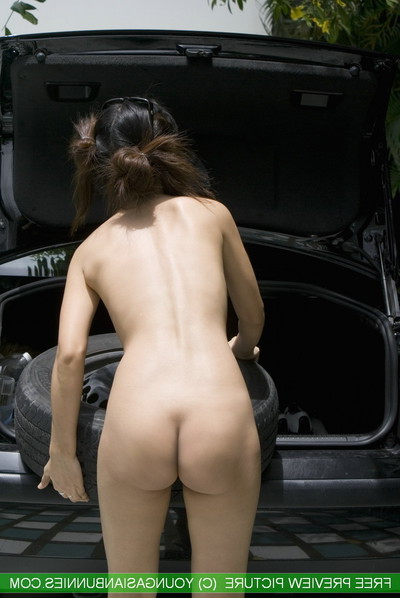 Youngasian bunnie mekumi car doing uncovered