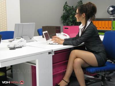 Spectacular Secretary Posing Her Outfit And Flashing Underclothes At The Office.