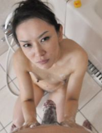 Concupiscent Chinese MILF Mika Asano benefits from drilled and takes a jizz flow on her face