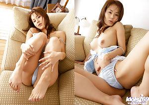 Hawt Japanese coed Takane Hirayama showcasing her gigantic bosoms and hirsute cum-hole
