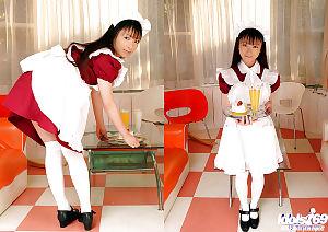 Fresh oriental housewife slave with undersize meatballs Emiru Momose slipping off her uniform