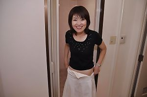 Sassy Chinese MILF with mini milk sacks Miki Ando undressing and attractive bathroom
