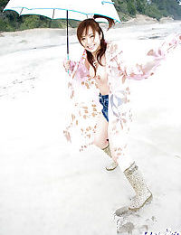 Infant Japanese sweetmeat with untamed fanny and trimmed twat posing outdoor