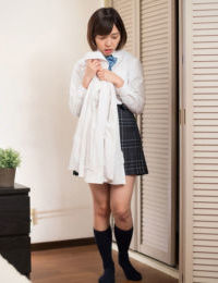 Japanese schoolgirl skates off white cotton underwear in advance of finger smokin