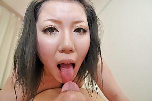 Japanese MILF Aya Uchiyama gains her bushy gentile pumped and creampied