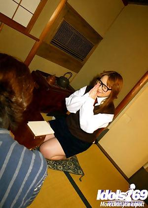 Eastern gal in glasses Yamazaki Akari gives head and turns over by her large milk sacks