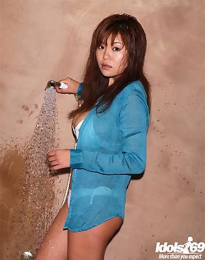 Hot Japanese model with colossal pointer sisters Yoko Matsugane delicious washroom in bikini