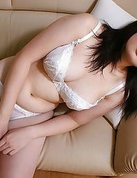 Japanese chicito Momo Akiyama delightsome off her underware and toying her shaggy gash