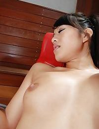 Concupiscent Chinese young obtains her bawdy cleft forced with marital-devices and firm dick