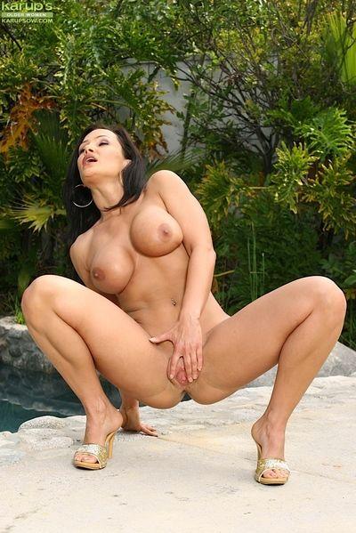 Of age babe Lisa Ann stripping off bikini not allowed down pool