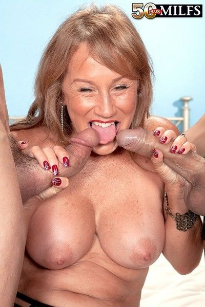 Mature trisha swallows takes several cocks in anal threesome