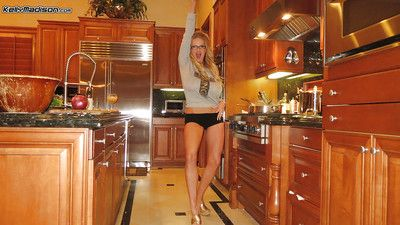 Clothed unprofessional adult Kelly Madison is showing her obese special there kitchen